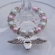 Angel Wings With Heart Wine Glass Charm - Full Sparkle Style